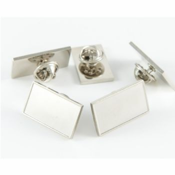Superior Badge Blank rect. 23x12mm silver clutch fitting